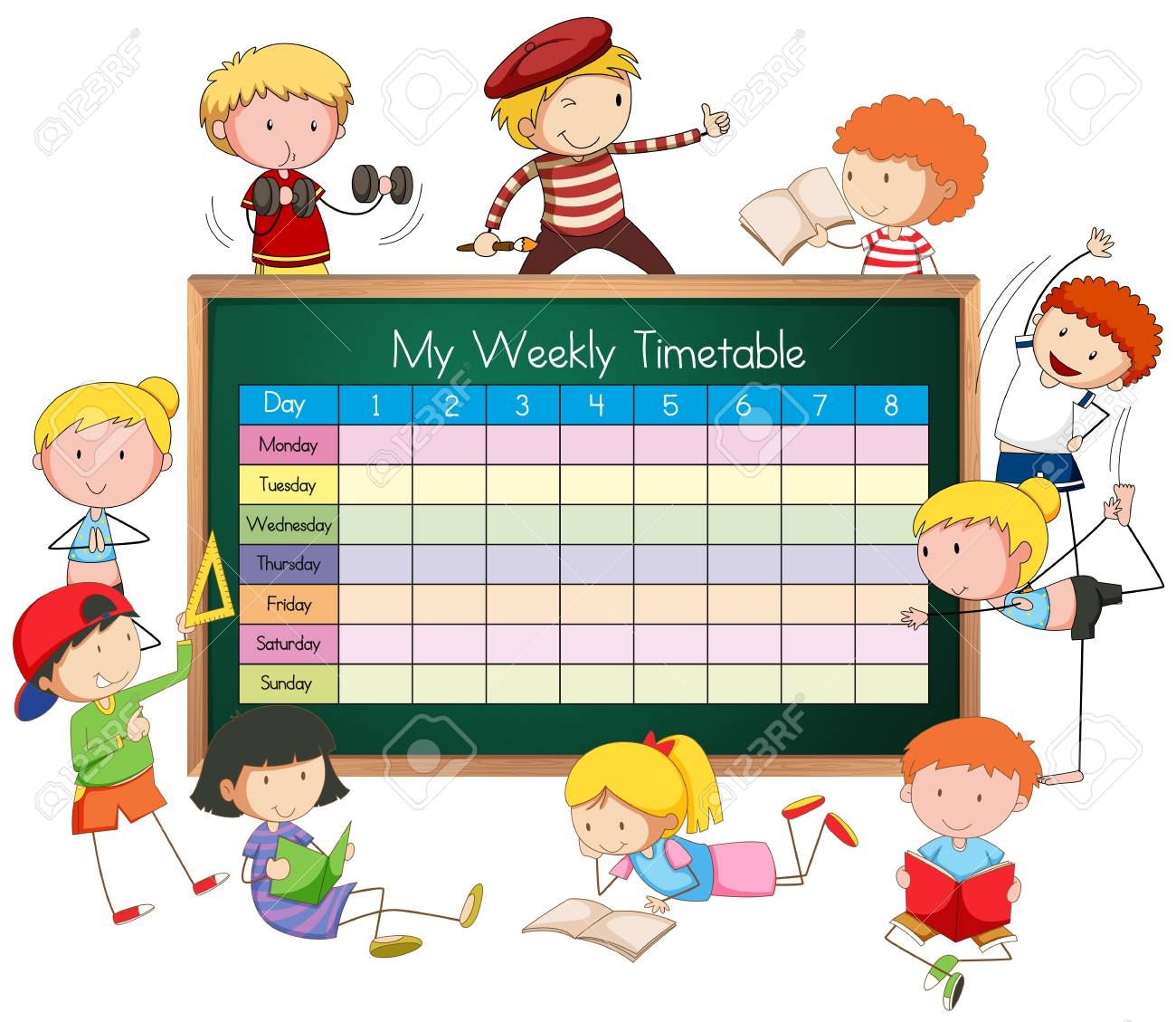 Weekly timetable with boys and girls illustration..