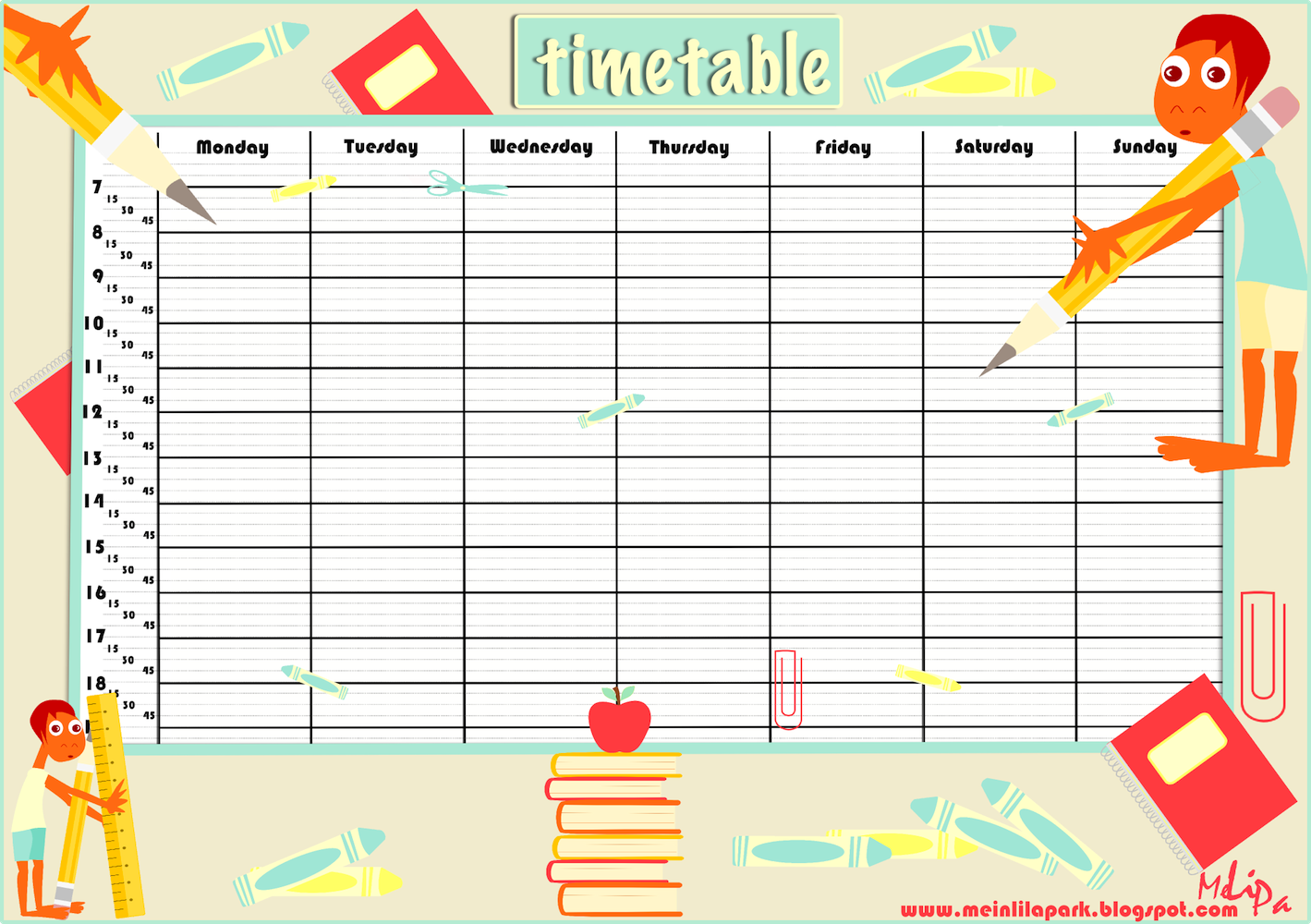 Free printable school timetable and school scrabpooking.