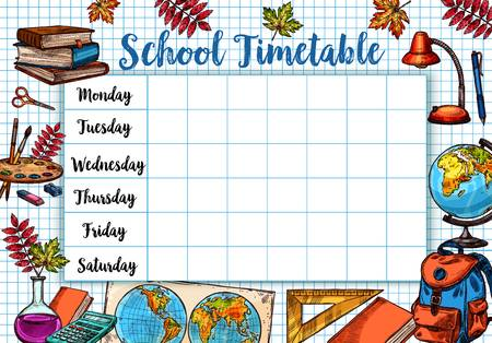 1,991 School Timetable Stock Vector Illustration And Royalty Free.