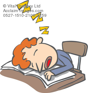 Clipart Illustration of a Child Asleep at a Desk.
