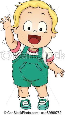 Kid Toddler Boy Wave Good Bye Illustration.