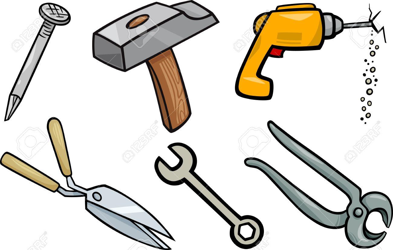 Cartoon Illustration of Tools Objects Clip Art Set.