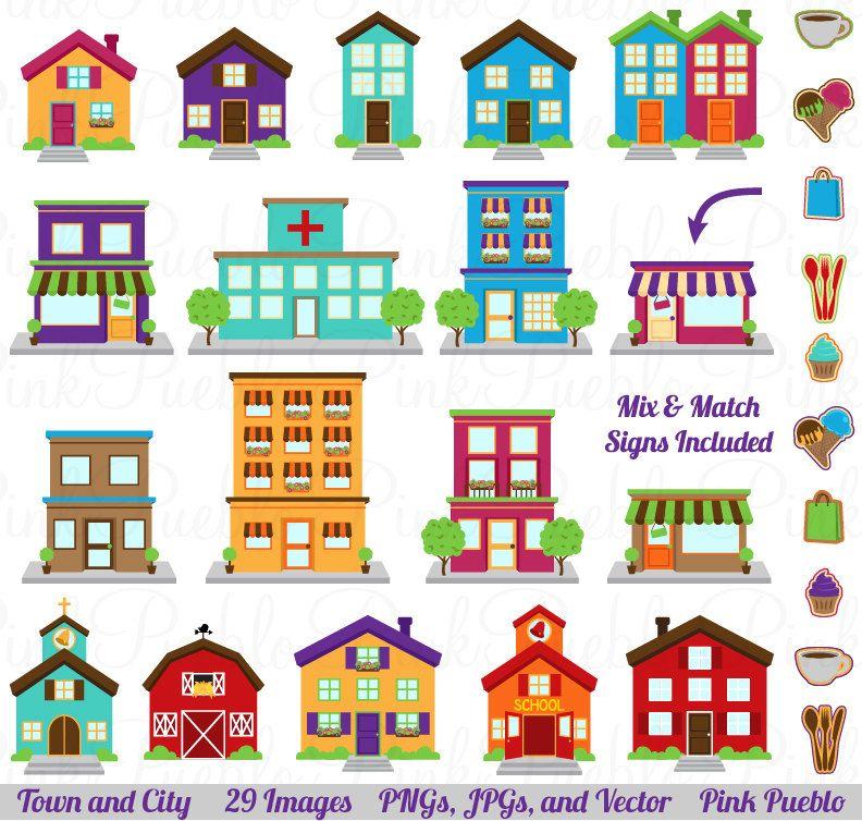 City Clipart Clip Art, Printable House Village Town Clip Art Clipart.