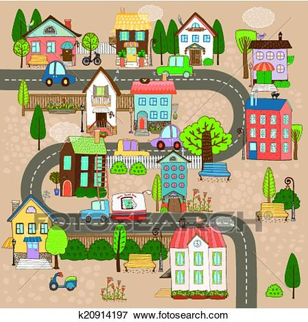 Town on road Clip Art.