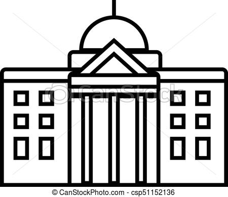 town hall vector line icon, sign, illustration on background, editable  strokes.