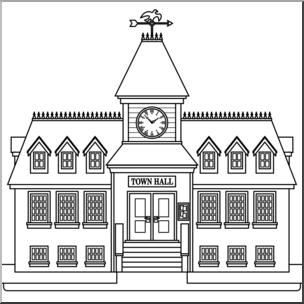 Clip Art: Buildings: Town Hall B&W I abcteach.com.