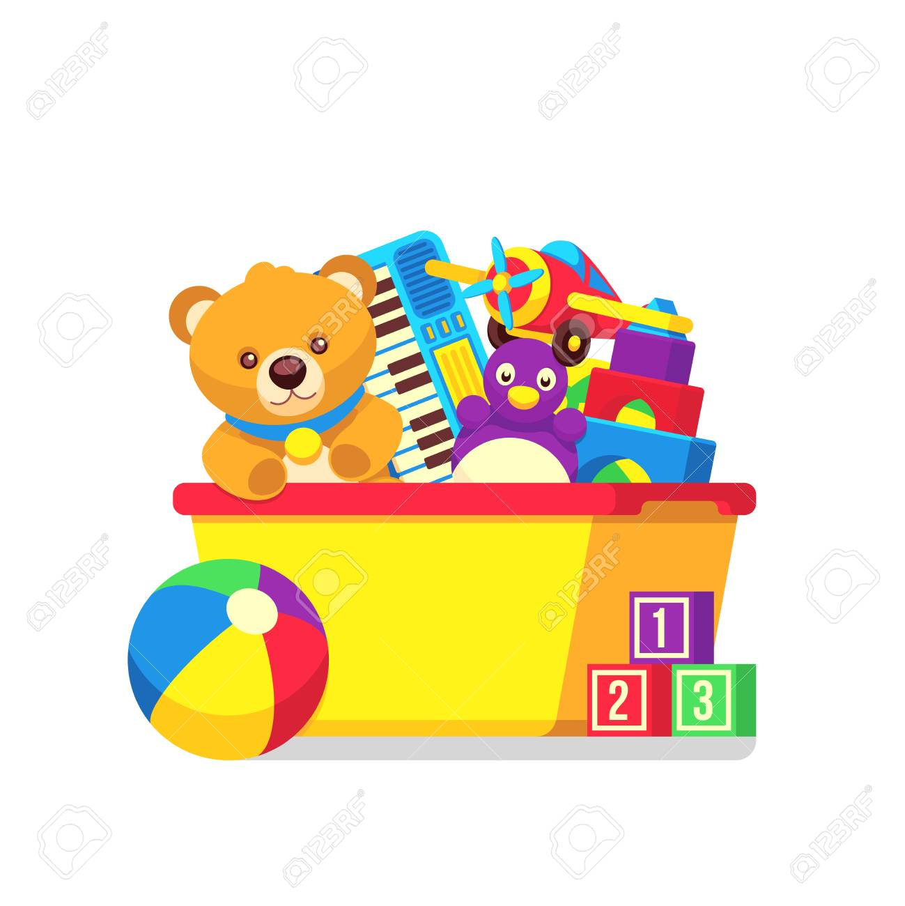 Kids toys in kids box vector clipart. Cartoon kids toys in box...