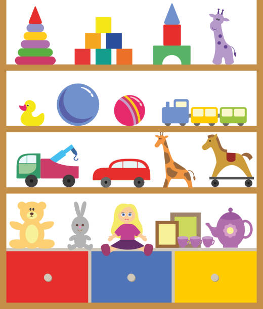 Best Toy Shelf Illustrations, Royalty.