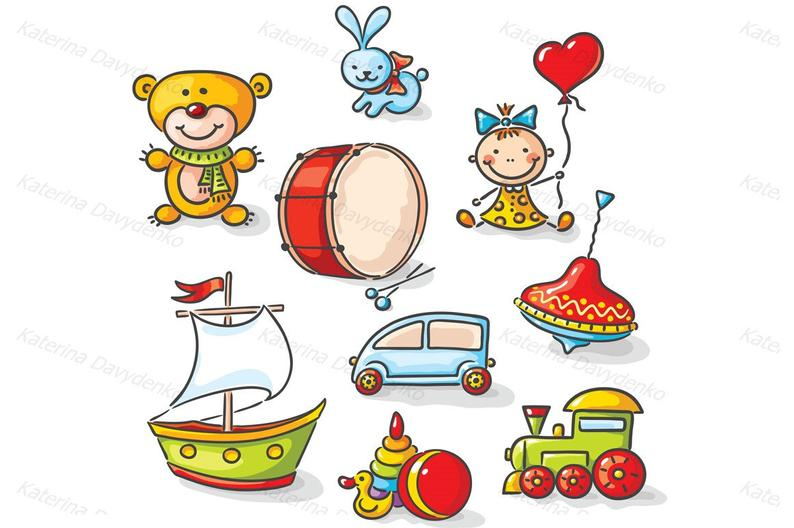 Set of colorful cartoon toys. Clipart toys for kids. Clip art toy. Personal  and Commercial use..