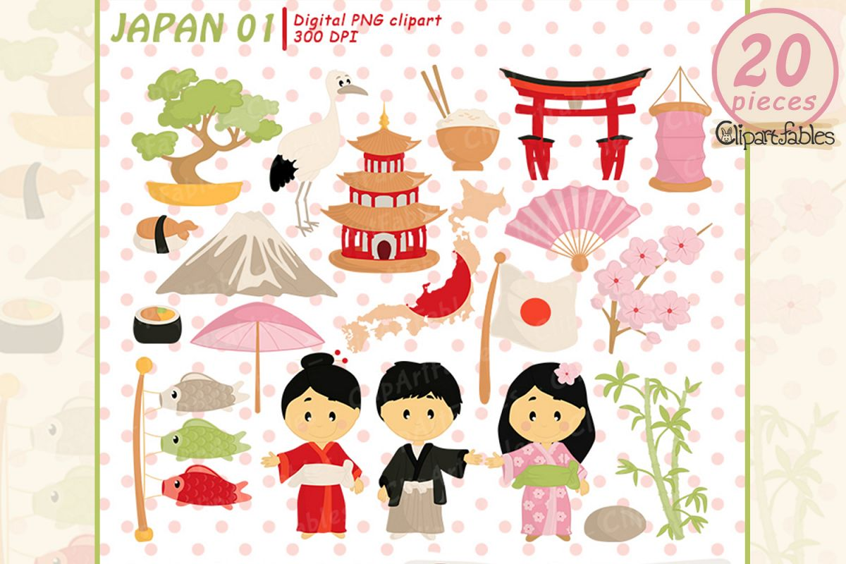 Japan Tradition clipart, japanese clip art, cute travel art.
