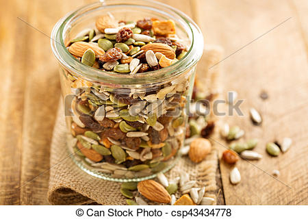 Dried fruit and nuts trail mix.