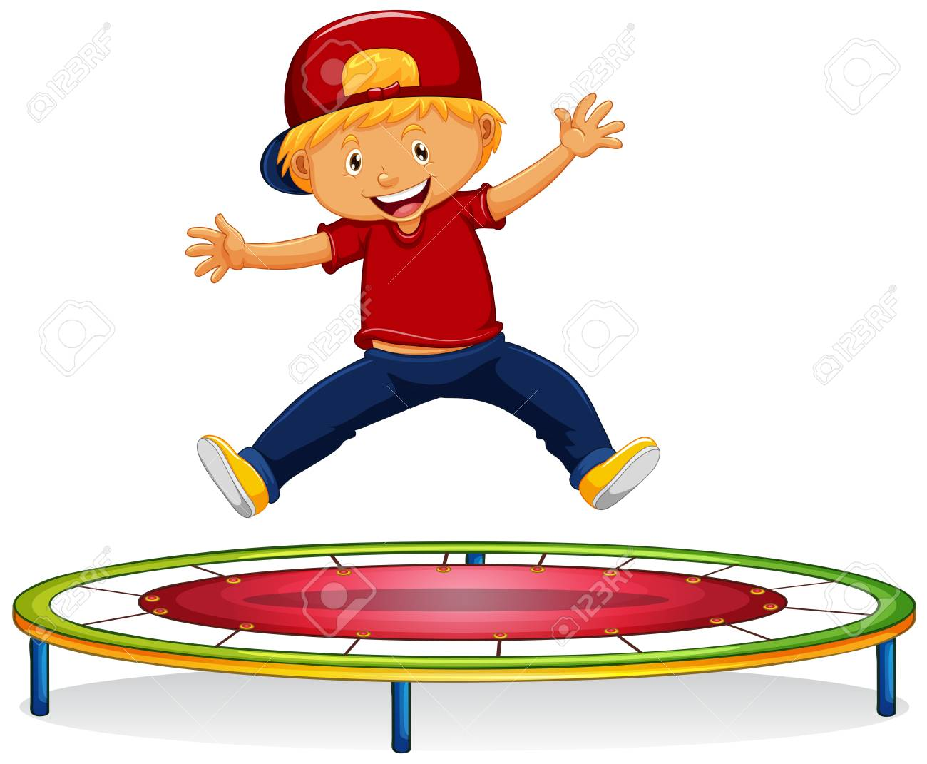 Happy boy jumping on trampoline illustration.