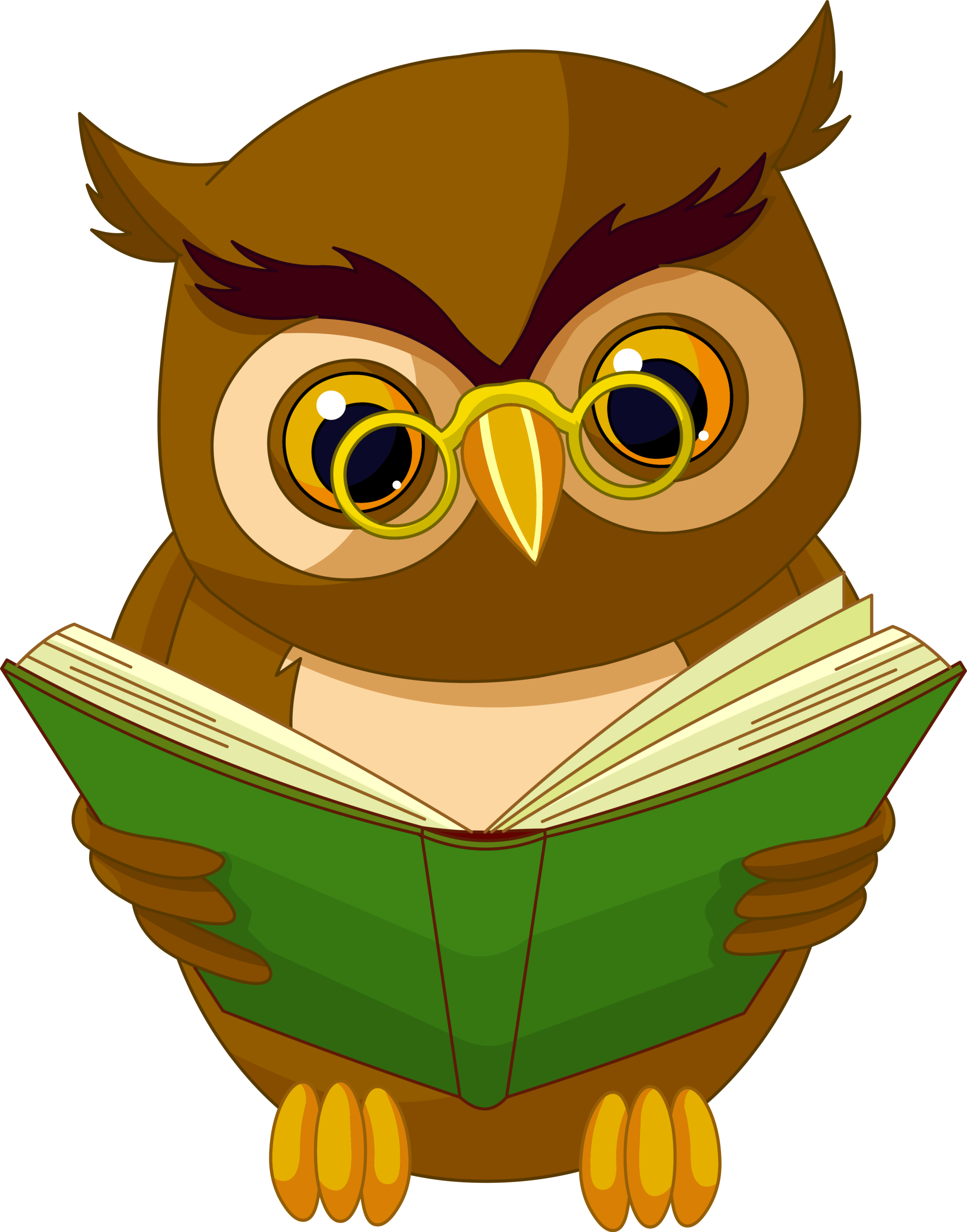 Transparent Owl with Book PNG Clipart Picture.