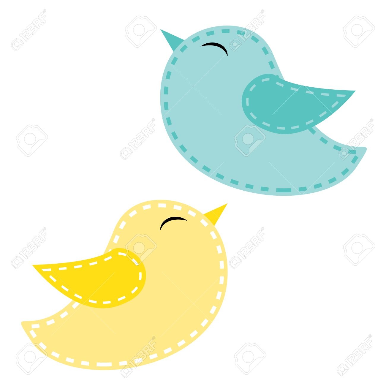 Two cute birds, blue and yellow on a transparent background,...