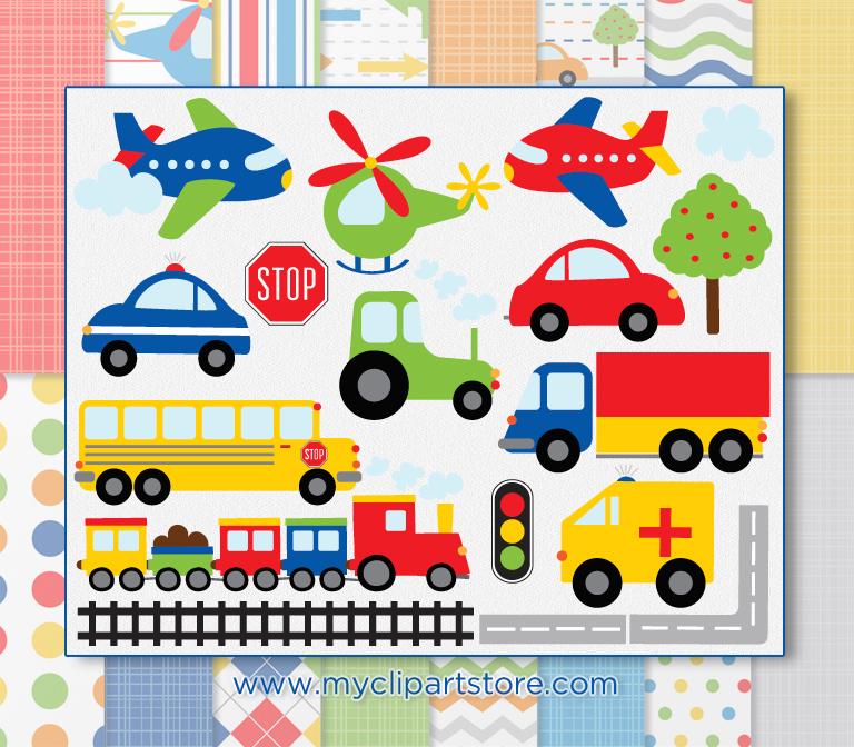 Transportation Clipart Combo.