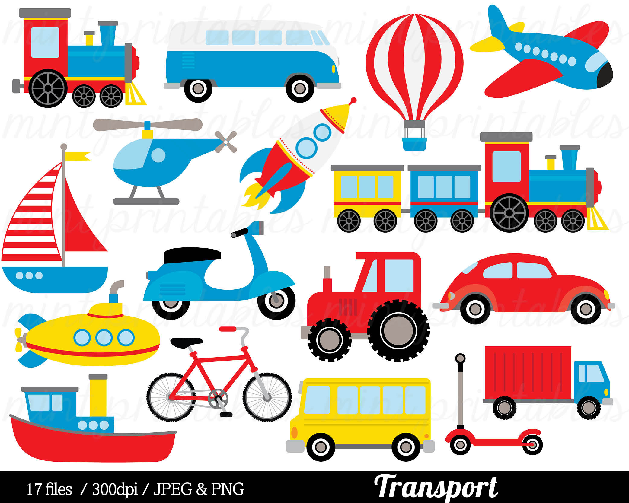 Transport Clipart Transport Clip Art, Train Car Truck Helicopter Bus Plane  Boat Submarine Rocket.