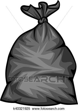 Black plastic trash bag vector Clipart.