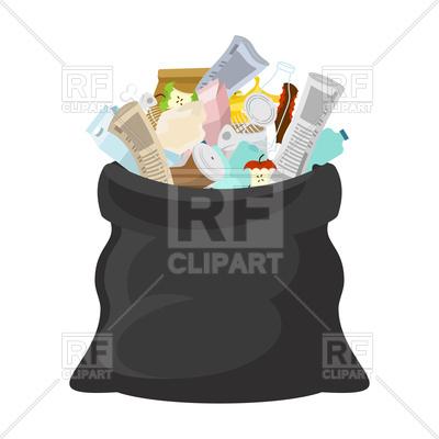 Black open garbage bag Vector Image.
