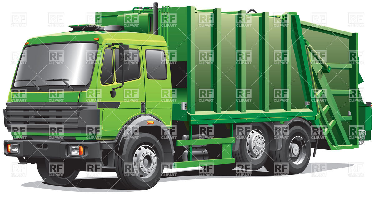 Modern garbage truck, dustcart Stock Vector Image.
