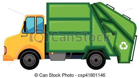 Rubbish truck with green container.