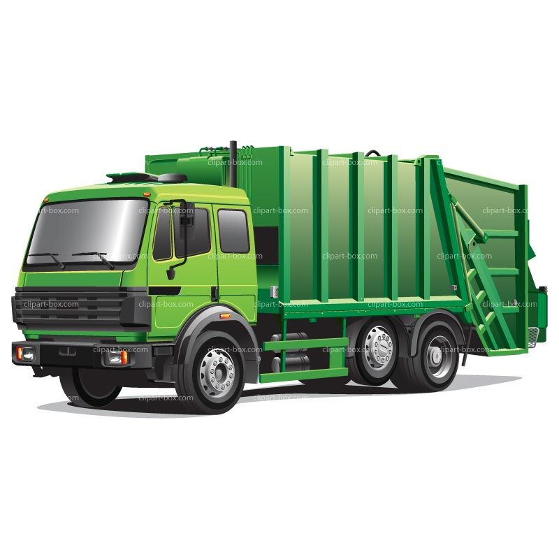 CLIPART GREEN GARBAGE TRUCK.