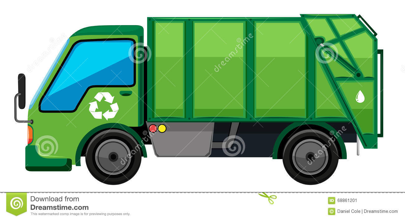 Garbage Truck In Green Color Stock Vector.
