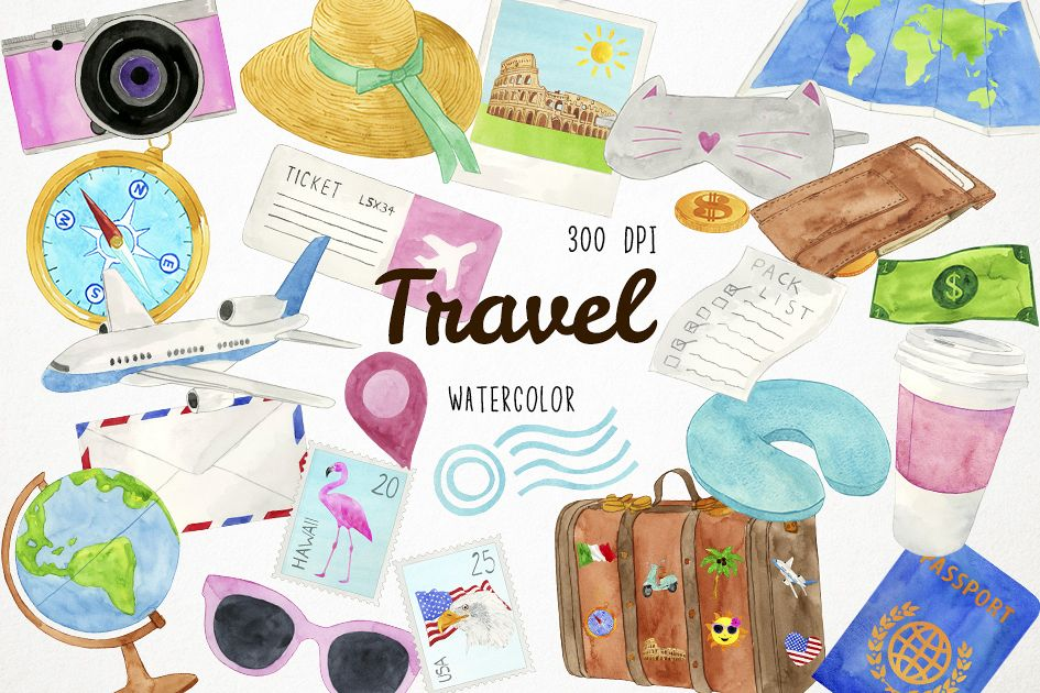 Watercolor Travel Clipart, Travel Clip Art, Travel Graphics.