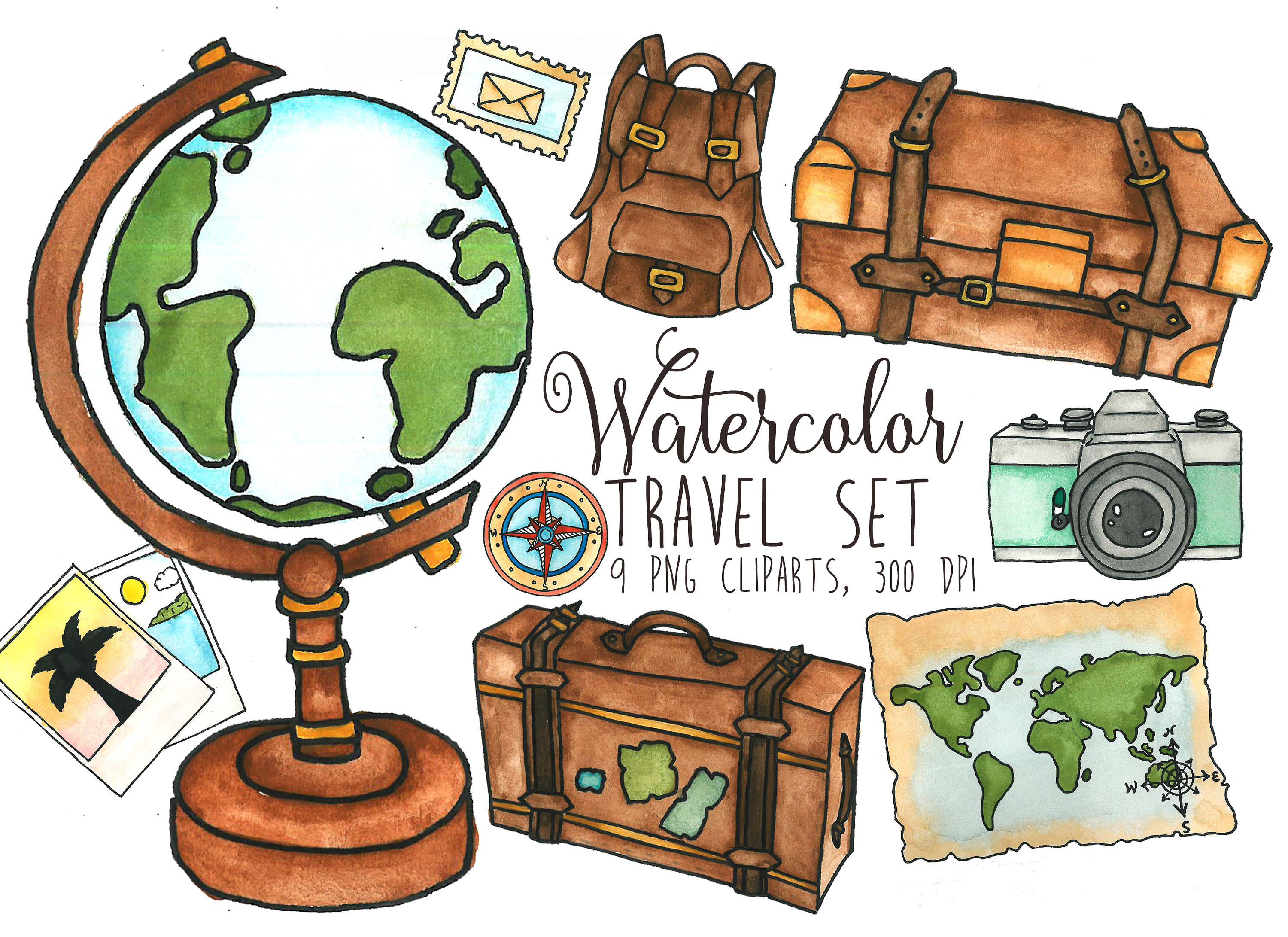 Travel Clipart Watercolor traveler's clip art Globe clipart Luggage  graphics Camera illustration Travel word map clip art Traveling clipart.