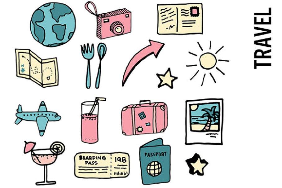 Travel Doodle Clipart.