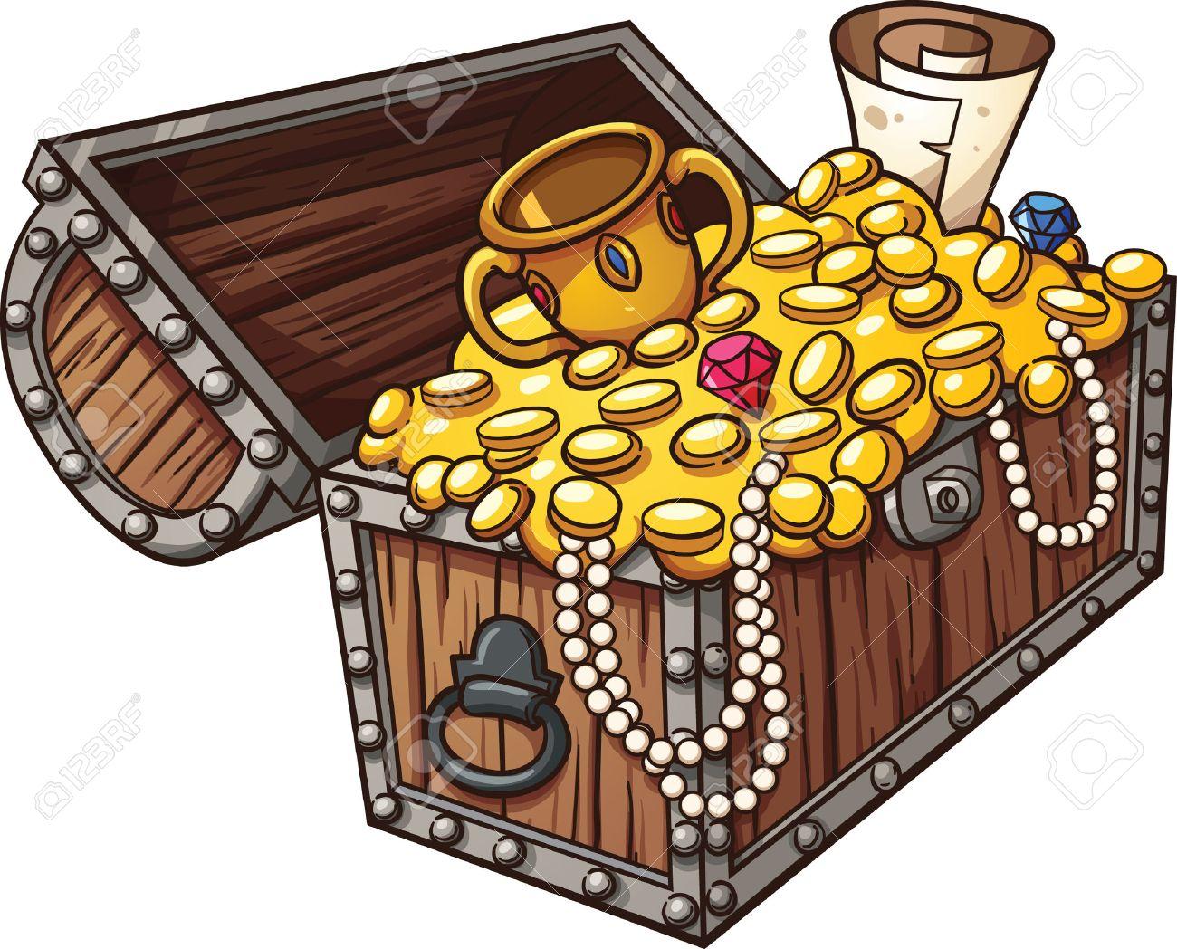Cartoon treasure chest. Vector clip art illustration with simple...