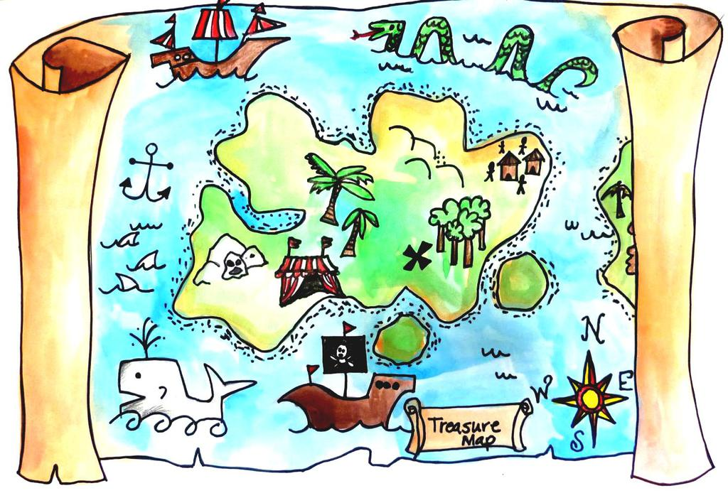 Treasure Map Clipart And Pencil Color In.