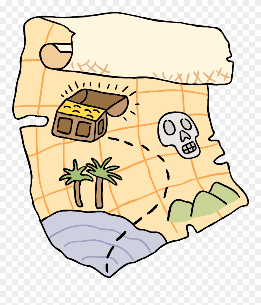 Vector Illustration Of Pirate Treasure Map Shows Location.