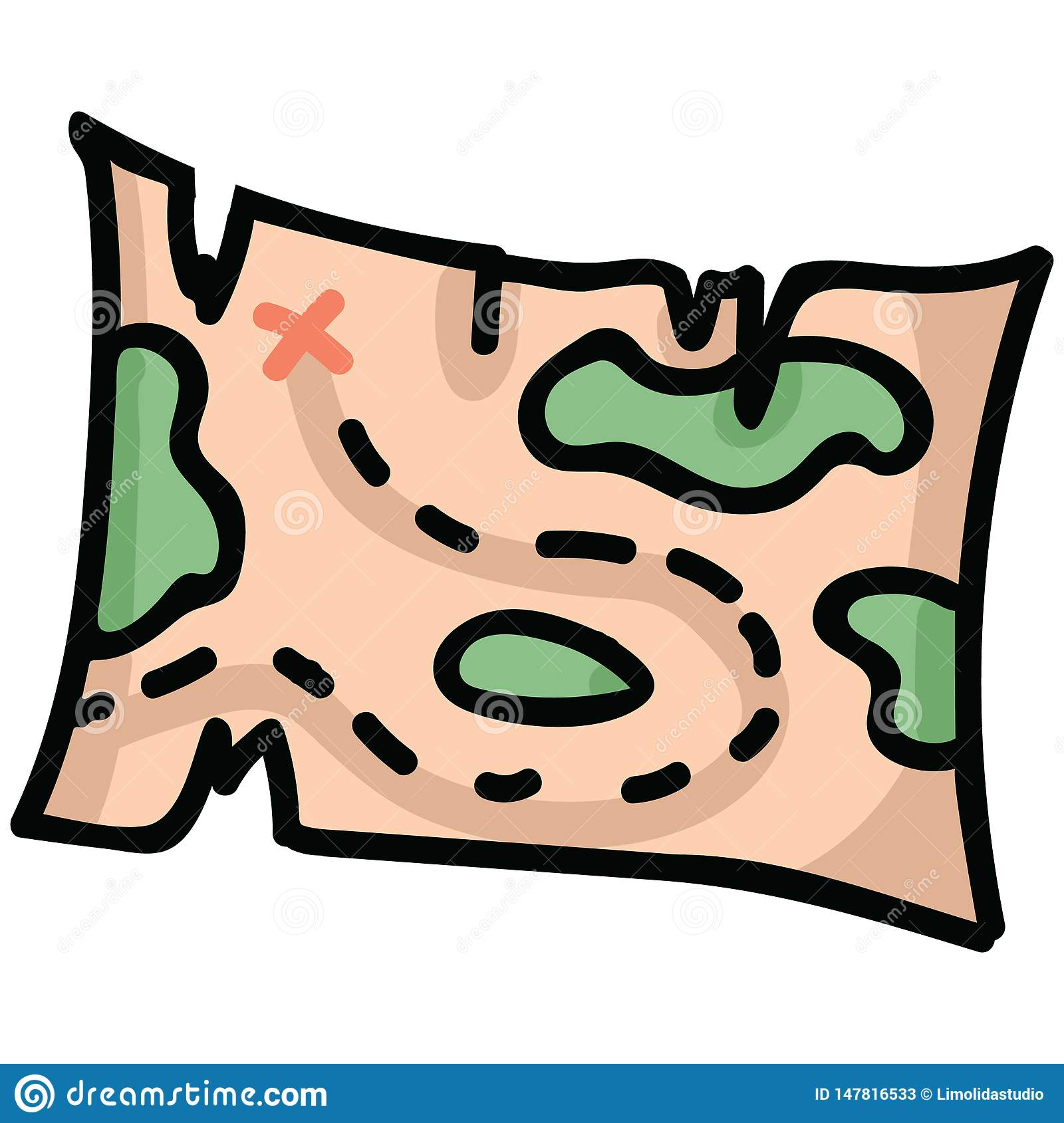 Cute Treasure Map Cartoon Vector Illustration Motif Set. Hand Drawn.