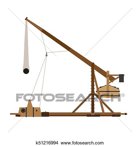 Trebuchet catapult vector war medieval siege illustration weapon wood  ancient sling shot historical icon Clipart.