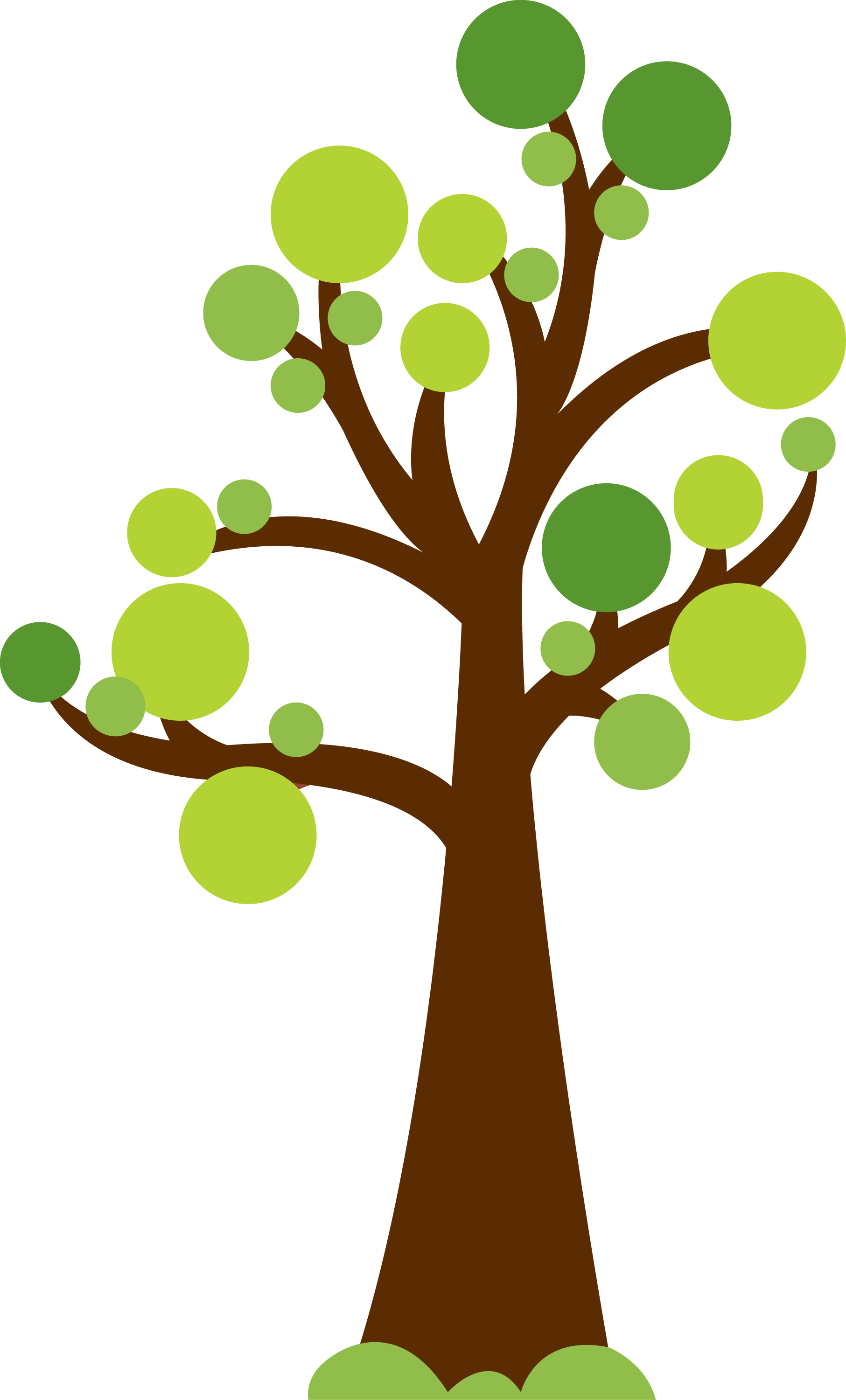 Tree with circles for leaves. Cute image for summer or garden theme.