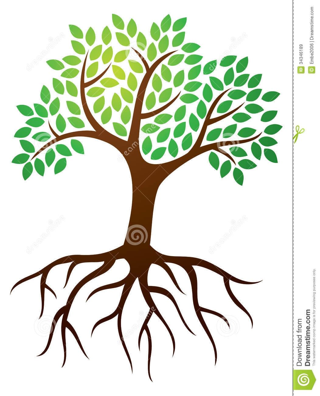 Clipart Of Trees With Roots.