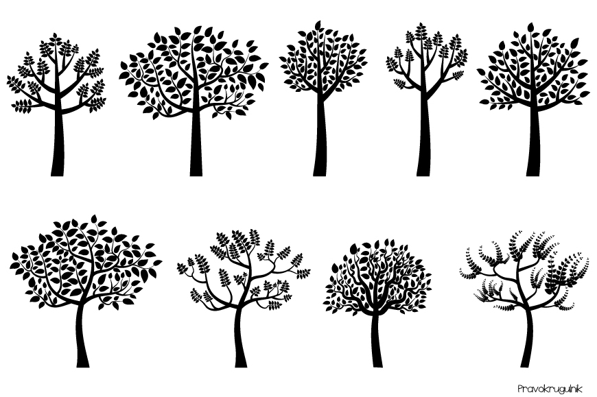 Black tree silhouette clipart, Trees with leaves clip art.