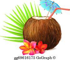Tropical Drinks Clip Art.