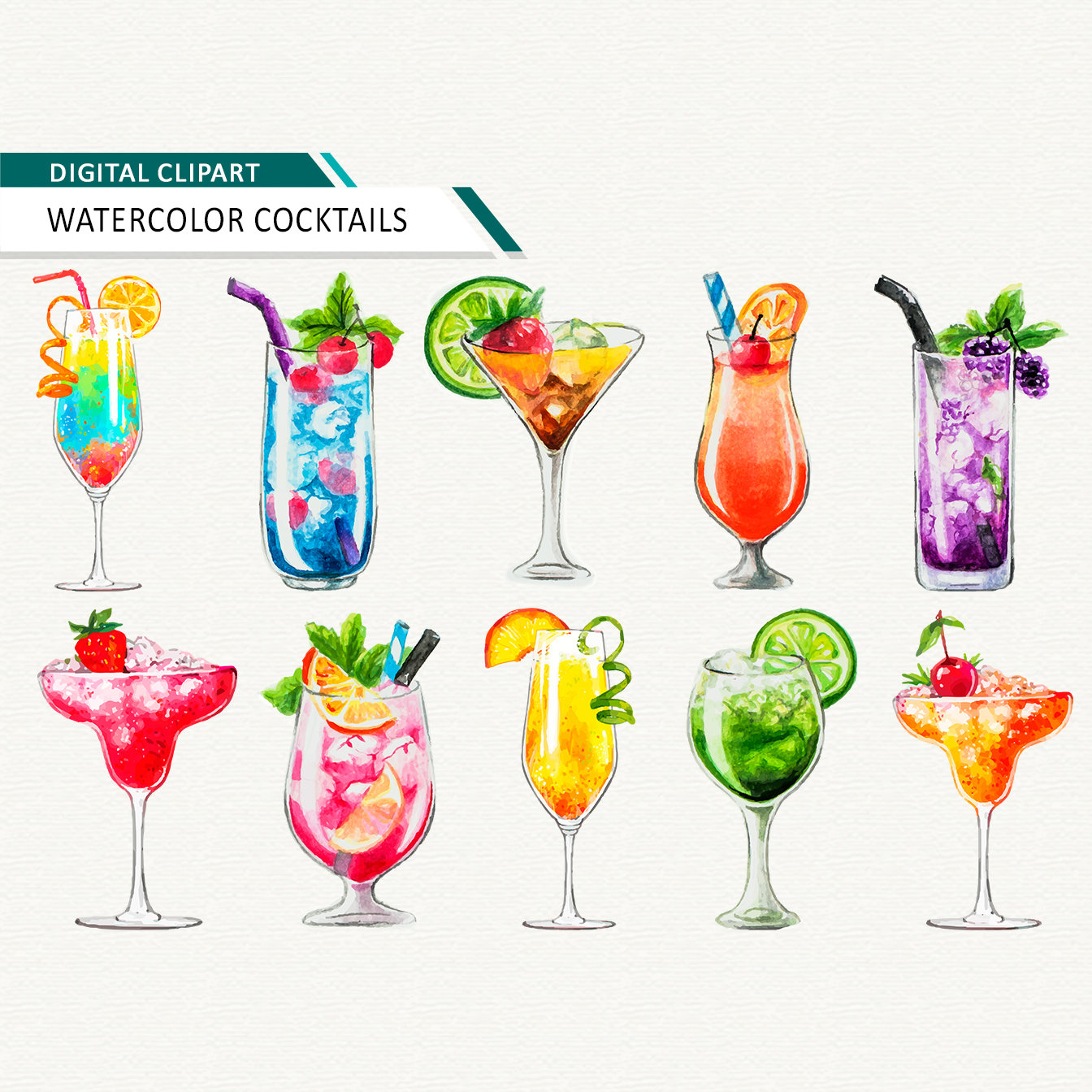 Watercolor cocktail clipart alcoholic drinks clipart Summer Clipart Hello  Summer Drink clipart Tropical drink summer drink download.