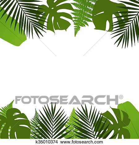 Tropical leaves background with pal Clipart.