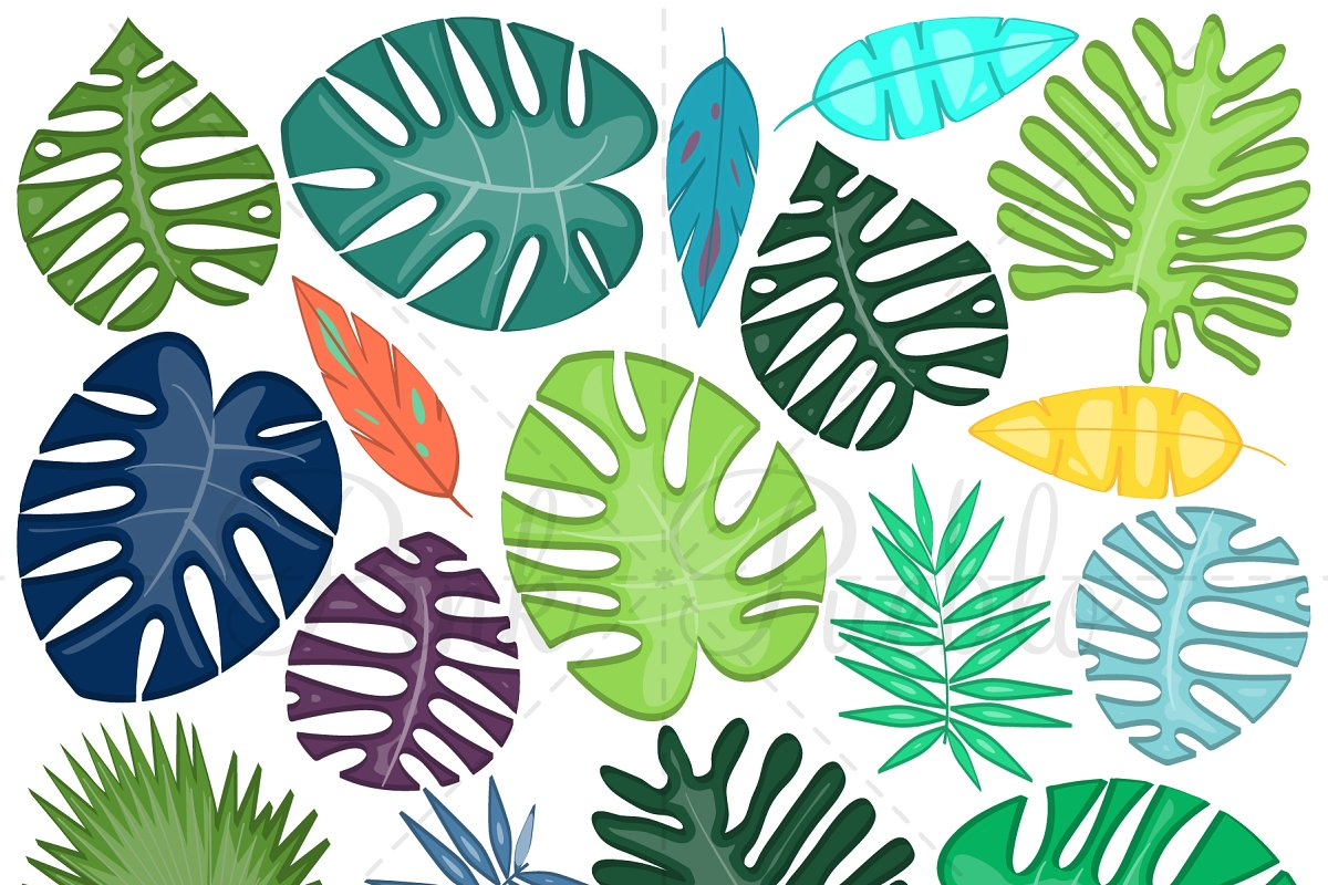 Tropical Leaves Clipart and Vectors.