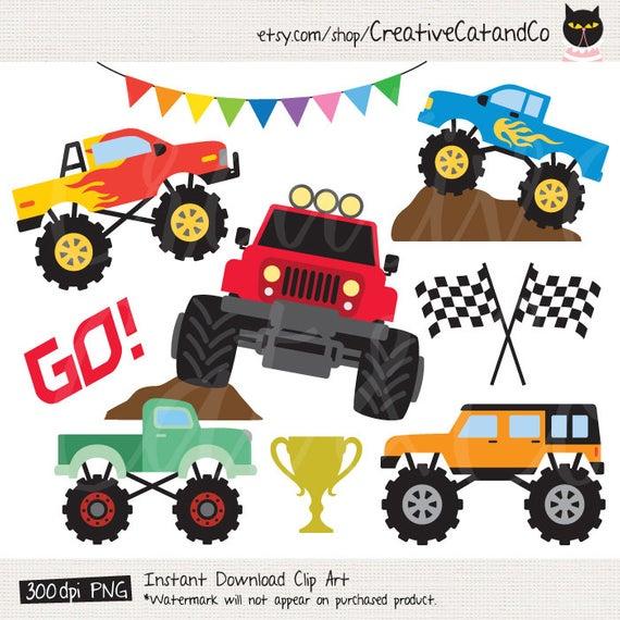 Monster Truck Clipart Big Truck Clip Art Car Racing Clipart Truck Set Boy  Truck Illustration Digital Clipart Clip Art.