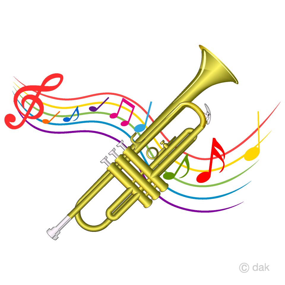 Trumpet and Music Tone Waving Clipart Free Picture Illustoon.