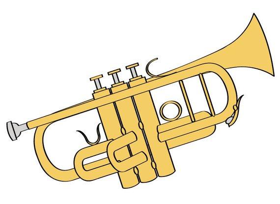 Trumpet Illustration Digital Download/ Music Clip Art/ Trumpet Clip.