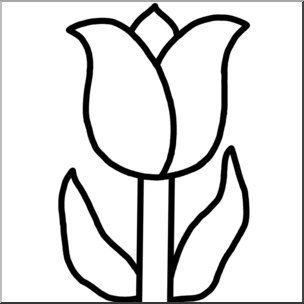 Clip Art: Flower: Tulip B&W I abcteach.com.