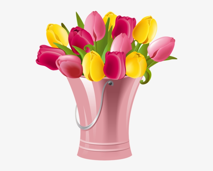 Picture Royalty Free Library Bucket With Tulips Png.