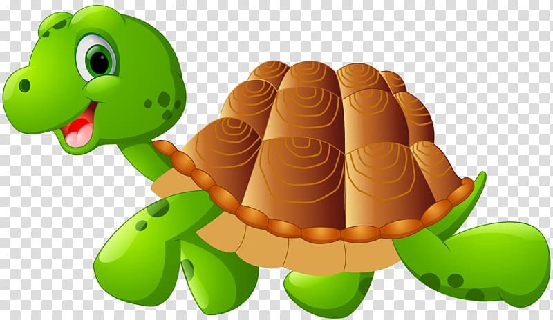 Green and brown turtle illustration, Green sea turtle Cartoon.
