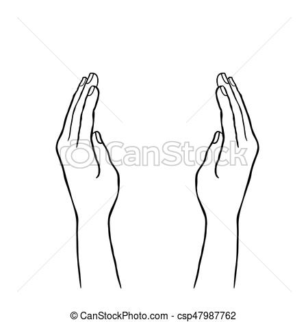 Two hands supporting concept. doodle line art sketch.
