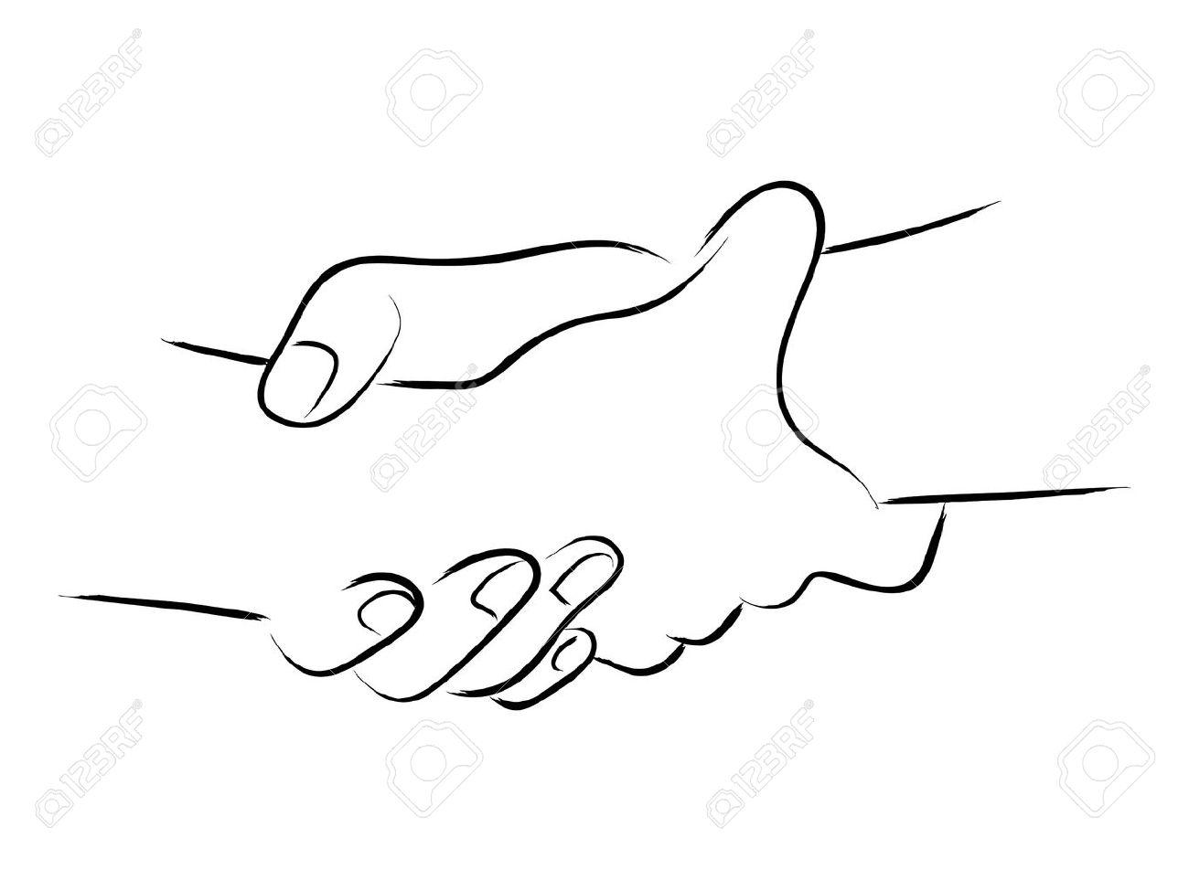 Simple line art of two hands holding each other strongly.