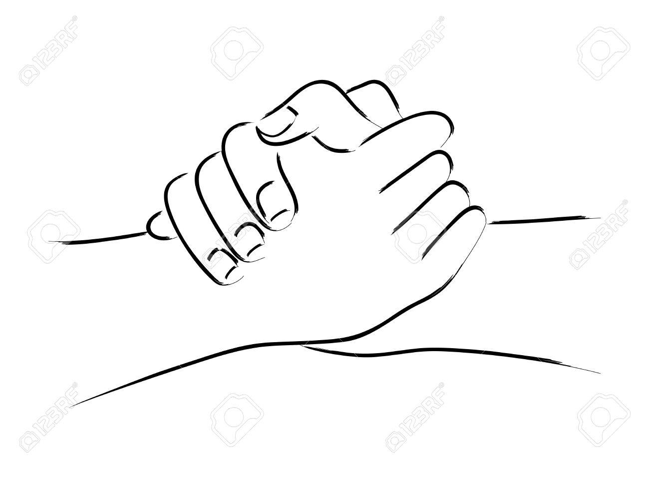 Line art of two hands holding each other strongly.